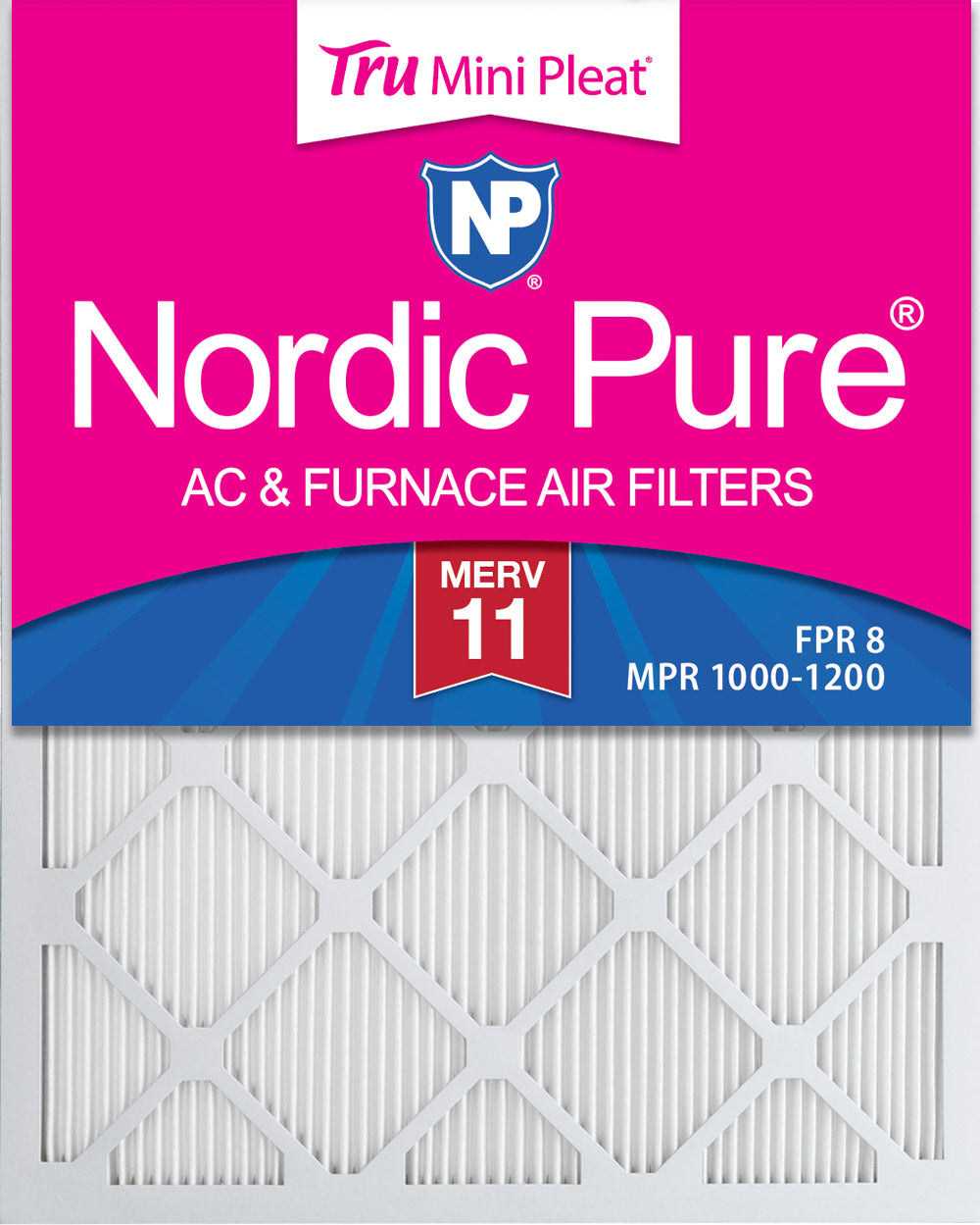 16x20x1 Tru Mini Pleat MERV 11 AC Furnace Air Filters 3 Pack