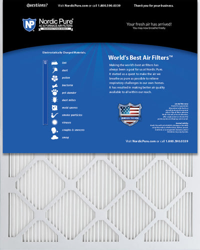 16x25x1 MERV 12 Tru Mini Pleat AC Furnace Air Filters 12 Pack