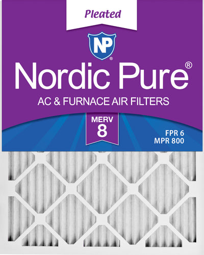 12x25x1 Pleated MERV 8 Air Filters 12 Pack