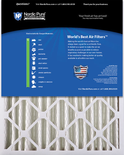 16x25x4 (3 5/8) Pleated MERV 13 Air Filters 1 Pack