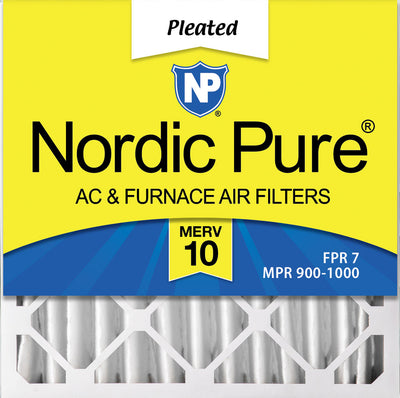 20x20x4 (3 5/8) Pleated MERV 10 Air Filters 1 Pack