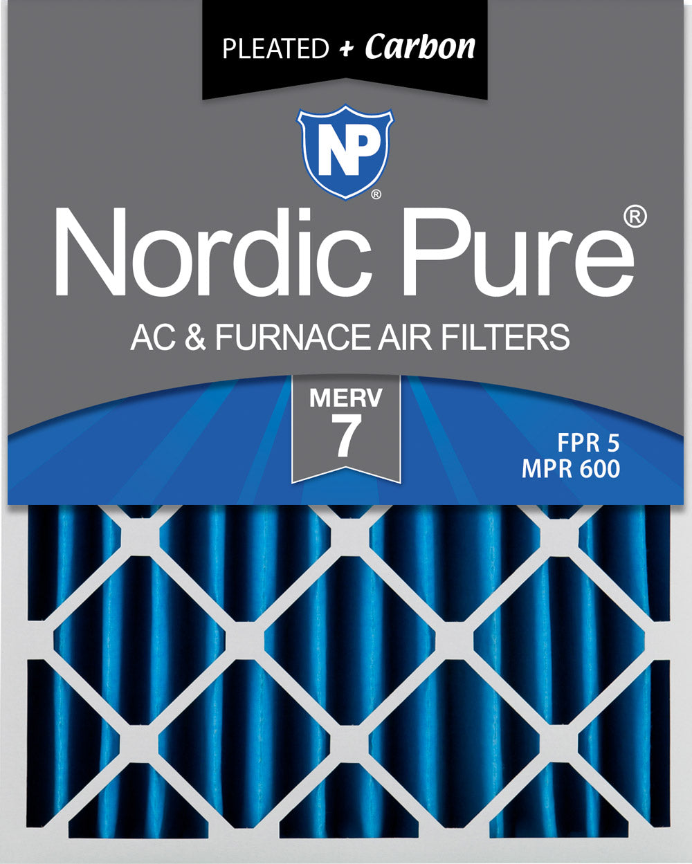 16x20x4 (3 5/8) Pleated Air Filters MERV 7 Plus Carbon 1 Pack