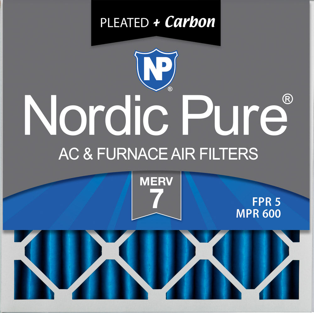 20x20x2 Pleated Air Filters MERV 7 Plus Carbon 3 Pack