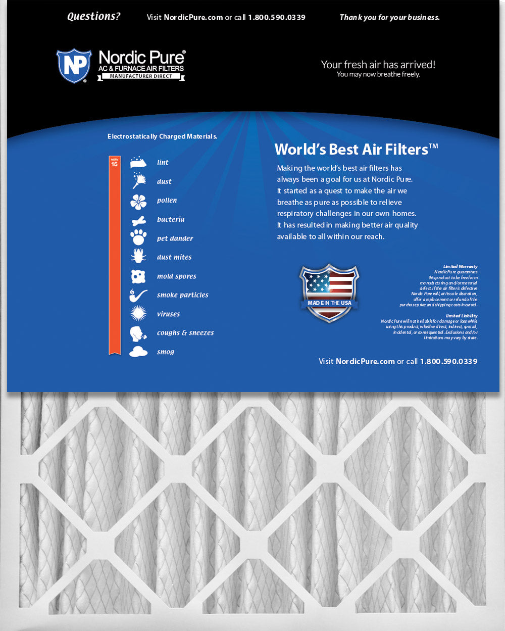 Nordic Pure 25x32x1 Exact MERV 13 Pleated AC Furnace Air Filters 3 Pack