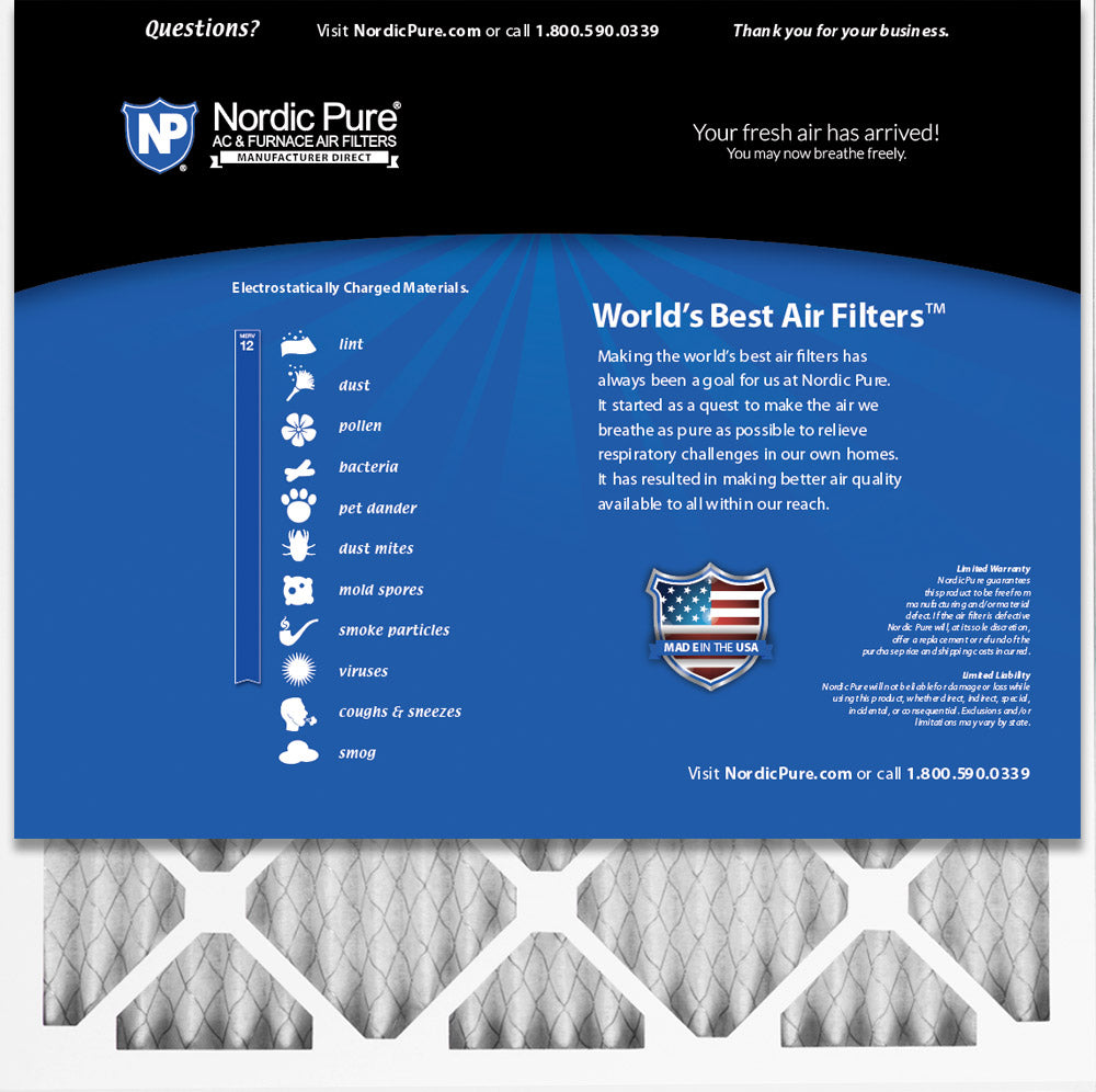 Nordic Pure 17x22x1 MERV 8 Pleated AC Furnace Air Filters 2 Pack