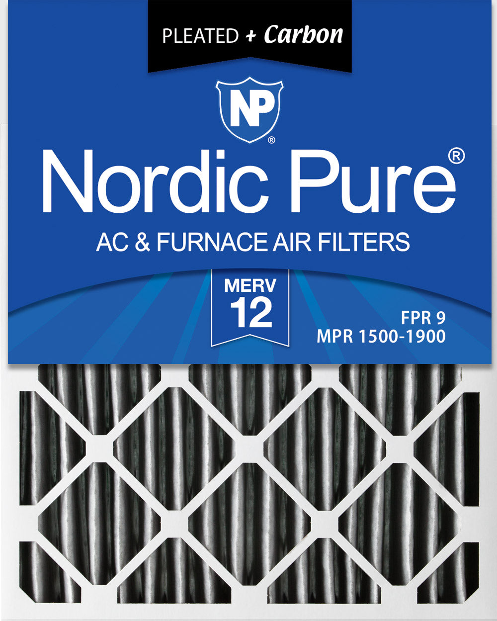 20x25x2 Furnace Air Filters MERV 12 Pleated Plus Carbon 12 Pack