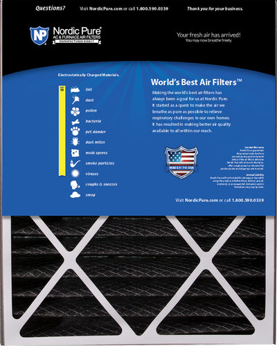 Air Bear 20x25x5 (4 7/8) Air Filter Replacement MERV 10 Pleated Plus Carbon 4 Pack