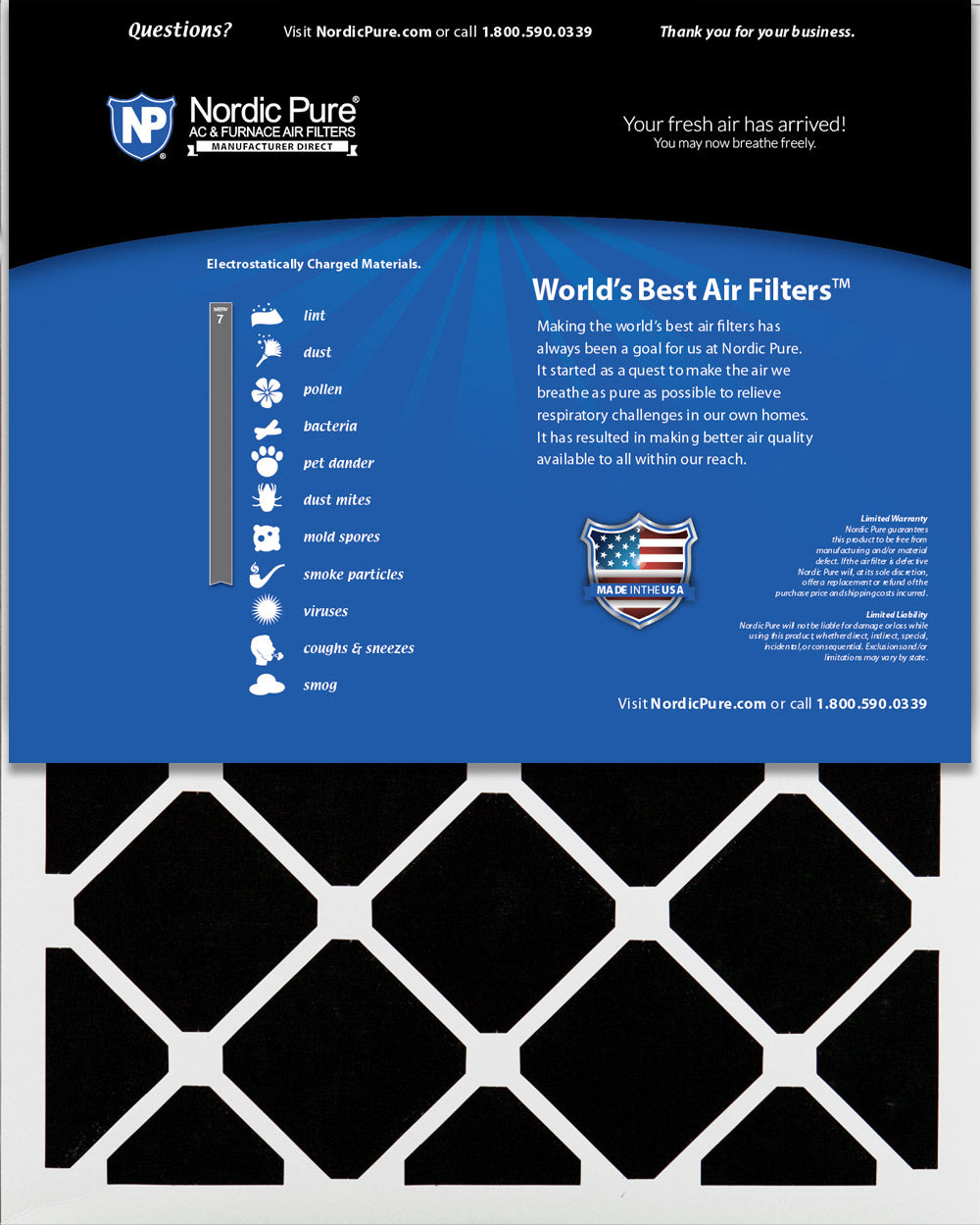 16x25x2 Air Filter Carbon Furnace Dust Odor Charcoal Media Nordic Pure