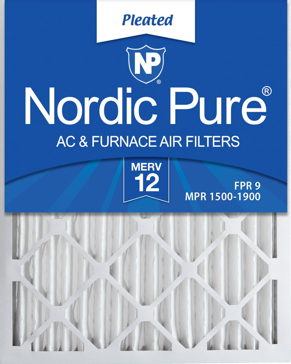 16x25x2 Pleated MERV 12 Air Filters 12 Pack