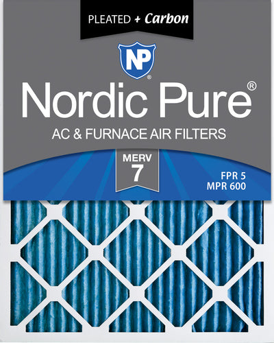 16x25x1 Pleated Air Filters MERV 7 Plus Carbon 12 Pack