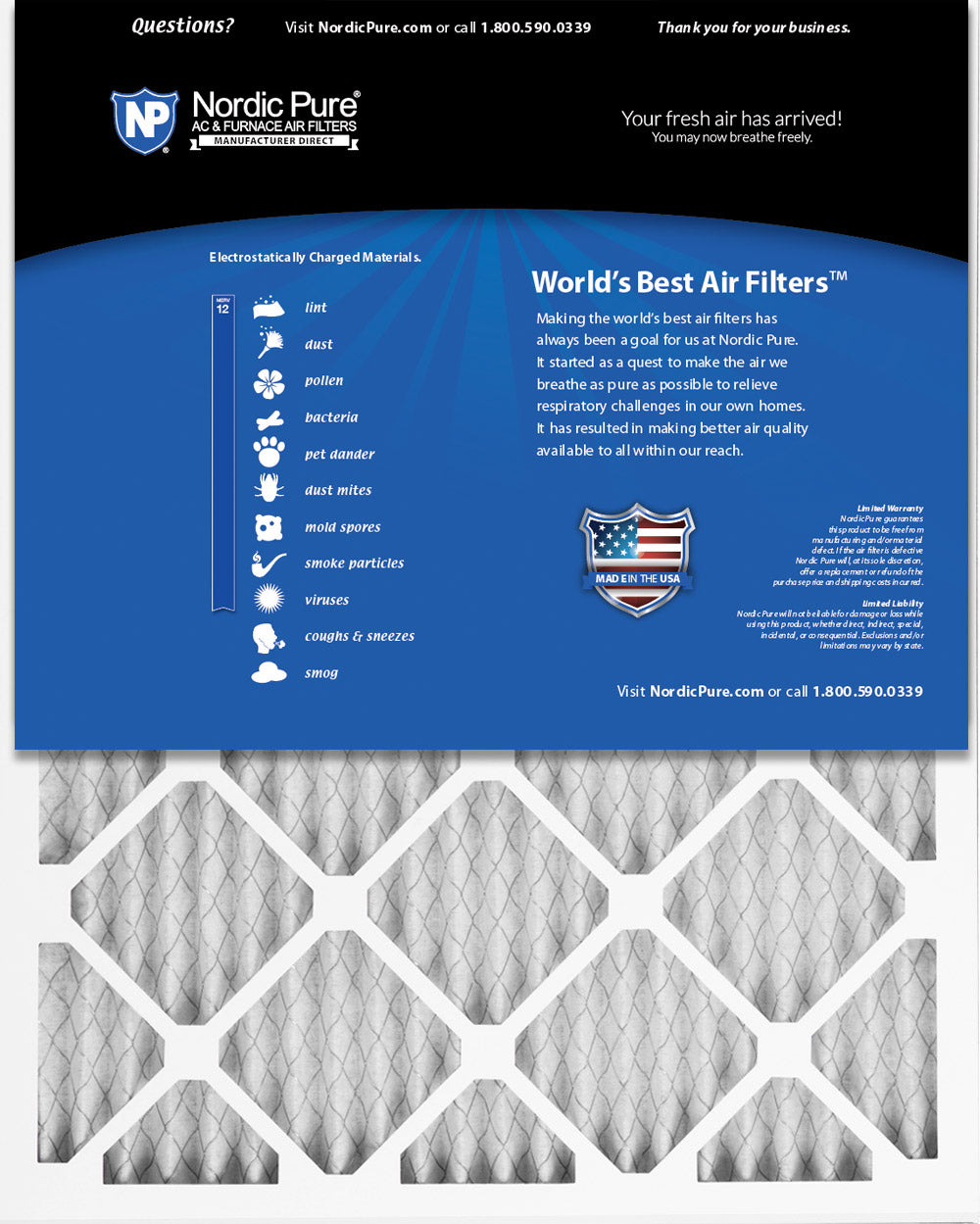 Nordic Pure 21x21x1 Exact MERV 12 Pleated AC Furnace Air Filters 6 Pack