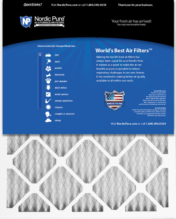 Piece Nordic Pure 18x20x1 MERV 12 Pleated Plus Carbon AC Furnace Air Filters 18 x 20 x 1