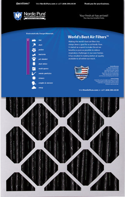 16x25x5 (4 3/8) Honeywell/Lennox Replacement Air Filters MERV 8 Pleated Plus Carbon 2 Pack