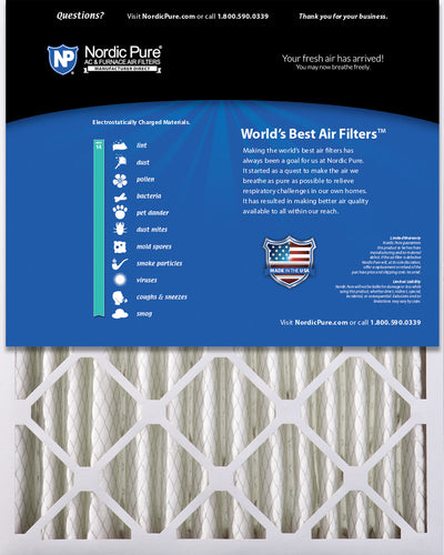 16x25x4 (3 5/8) Pleated MERV 14 Air Filters 1 Pack