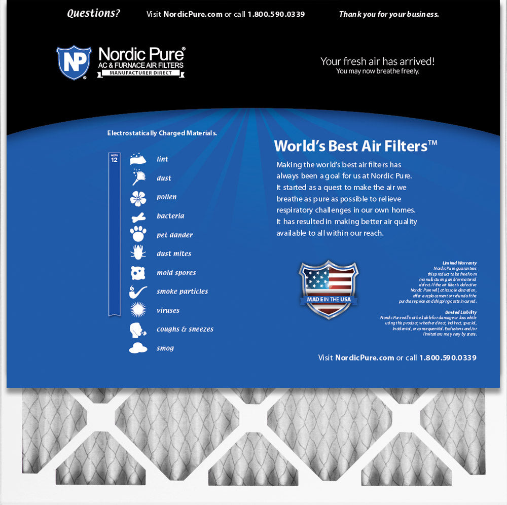 Nordic Pure 24x24x1 MERV 8 Pleated AC Furnace Air Filters 1 Pack,