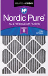 16x25x1 Furnace Air Filters MERV 8 Pleated Plus Carbon 3 Pack
