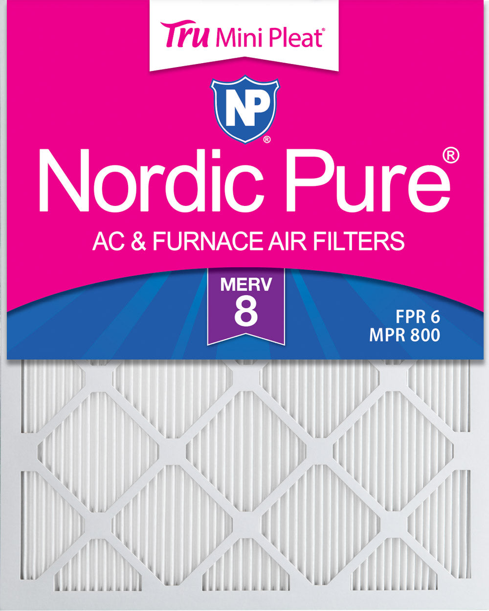 14x25x1 Tru Mini Pleat MERV 8 AC Furnace Air Filters 6 Pack