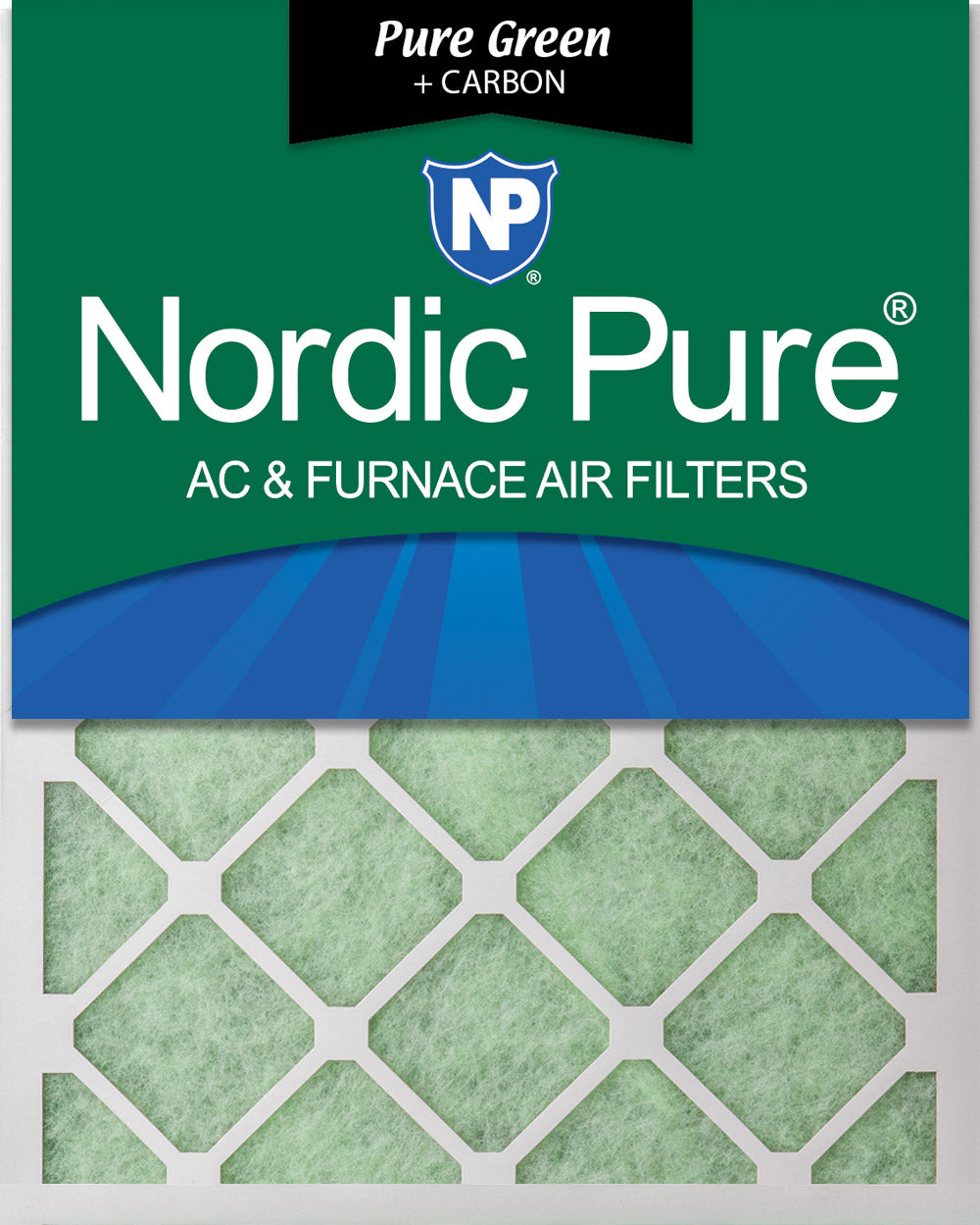 Nordic Pure 18x25x1 MERV 8 Pure Carbon Pleated Odor Reduction AC Furnace Air Filters 2 Pack