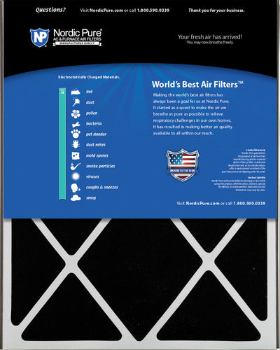 Air Bear 20x25x5 (4 7/8) Air Filter Replacement MERV 14 Plus Carbon 1 Pack