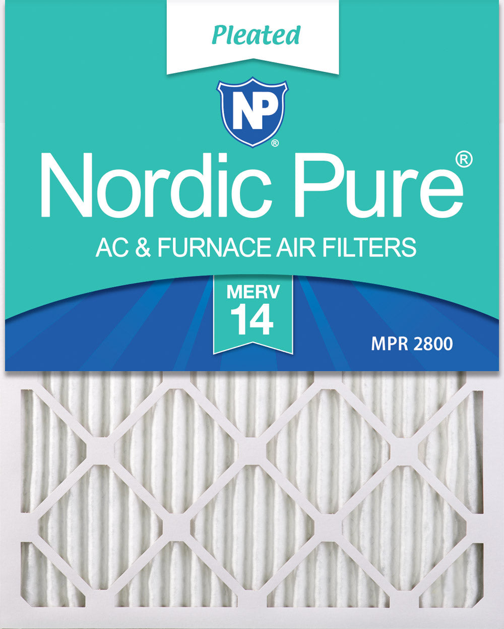 16x25x1 Pleated MERV 14 Air Filters 12 Pack