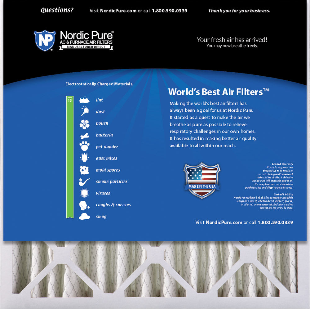 MERV 13 Pleated AC Furnace Air Filters 4-Inch 2 Pack 3-5//8 Actual Depth Nordic Pure 18x24x4