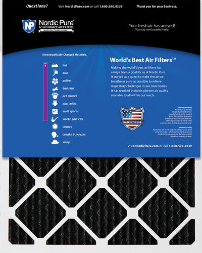 16x25x1 Pure Carbon Pleated Odor Reduction Furnace Air Filters 3 Pack