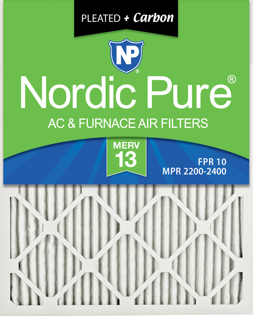 16x25x1 Pleated Air Filters MERV 13 Plus Carbon 3 Pack