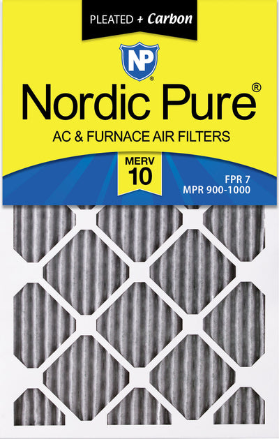 16x25x1 Furnace Air Filters MERV 10 Pleated Plus Carbon 12 Pack