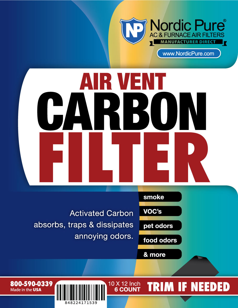 Air Vent Carbon Filters 10x12 (Register Vent Filters) 1 Pack of 6