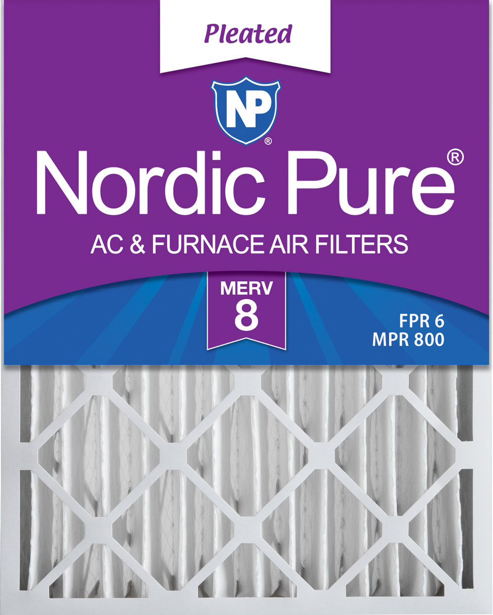 16x20x4 (3 5/8) Pleated MERV 8 Air Filters 6 Pack