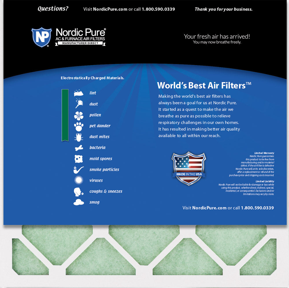 12 Pack Nordic Pure 12x12x1 MERV 14 Plus Carbon Pleated AC Furnace Air Filters
