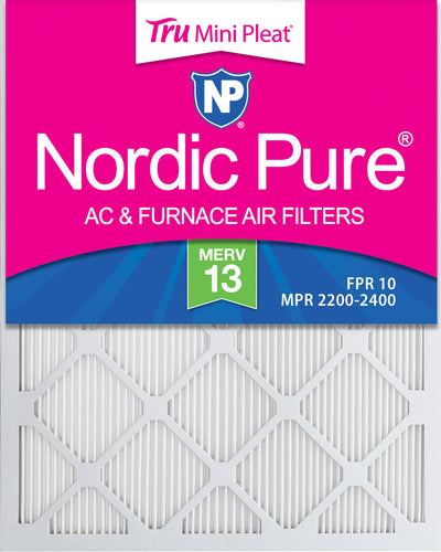 18x22x1 MERV 13 Tru Mini Pleat AC Furnace Air Filters 12 Pack