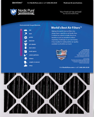 20x25x5 (4 3/8) Honeywell/Lennox Replacement Air Filters MERV 8 Pleated Plus Carbon 2 Pack