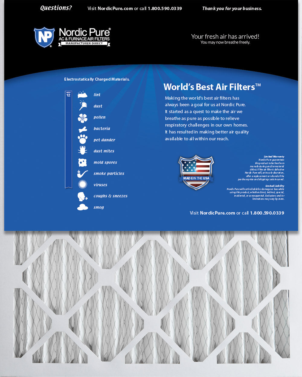 3 Pack 2-Inch Nordic Pure 14x25x2 MERV 13 Pleated AC Furnace Air Filters