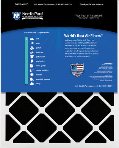 16x25x2 Pleated Air Filters MERV 14 Plus Carbon 3 Pack