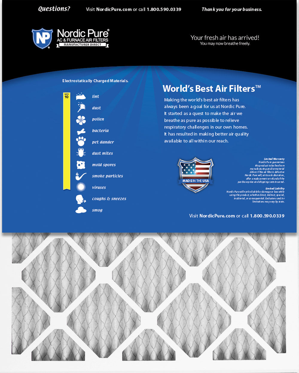 Nordic Pure 22x22x1 Exact MERV 10 Pleated AC Furnace Air Filters 3 Pack