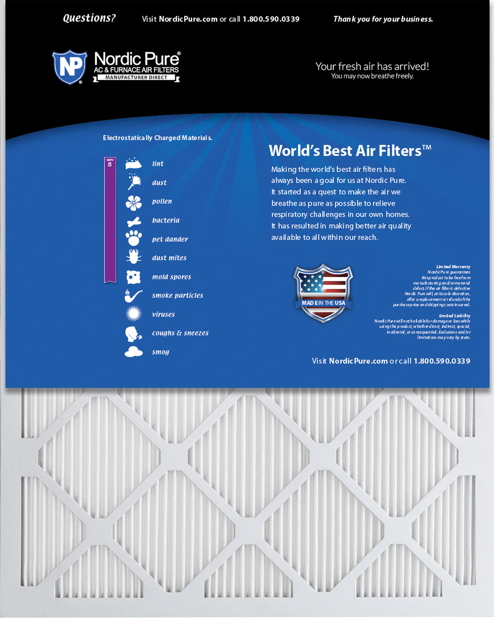 Nordic Pure 13x25x1 MERV 13 Tru Mini Pleat AC Furnace Air Filters 1 Pack