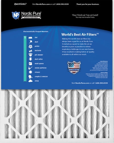16x25x2 Pleated MERV 14 Air Filters 12 Pack
