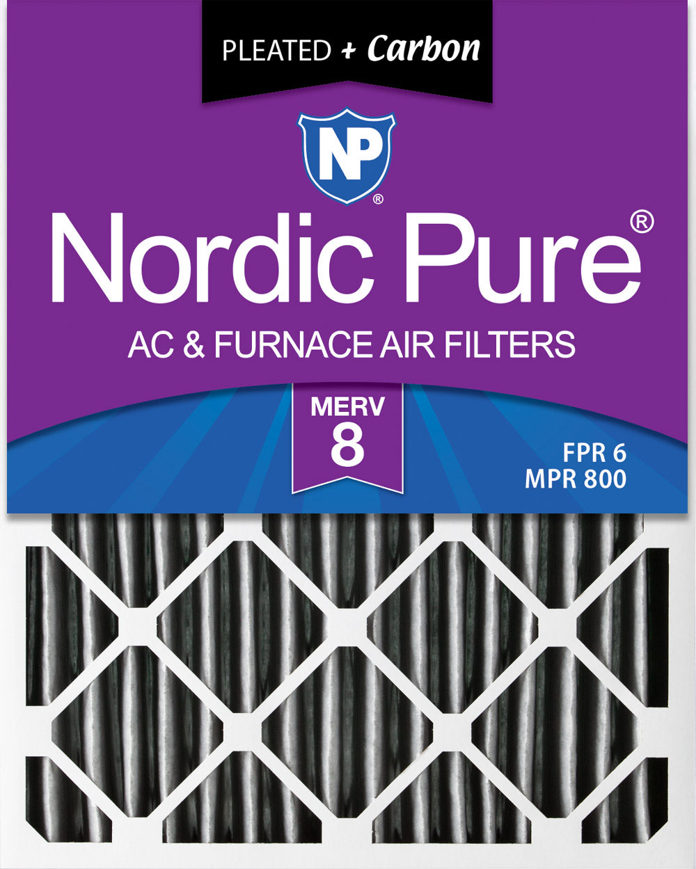 16x20x4 (3 5/8) Furnace Air Filters MERV 8 Pleated Plus Carbon 2 Pack