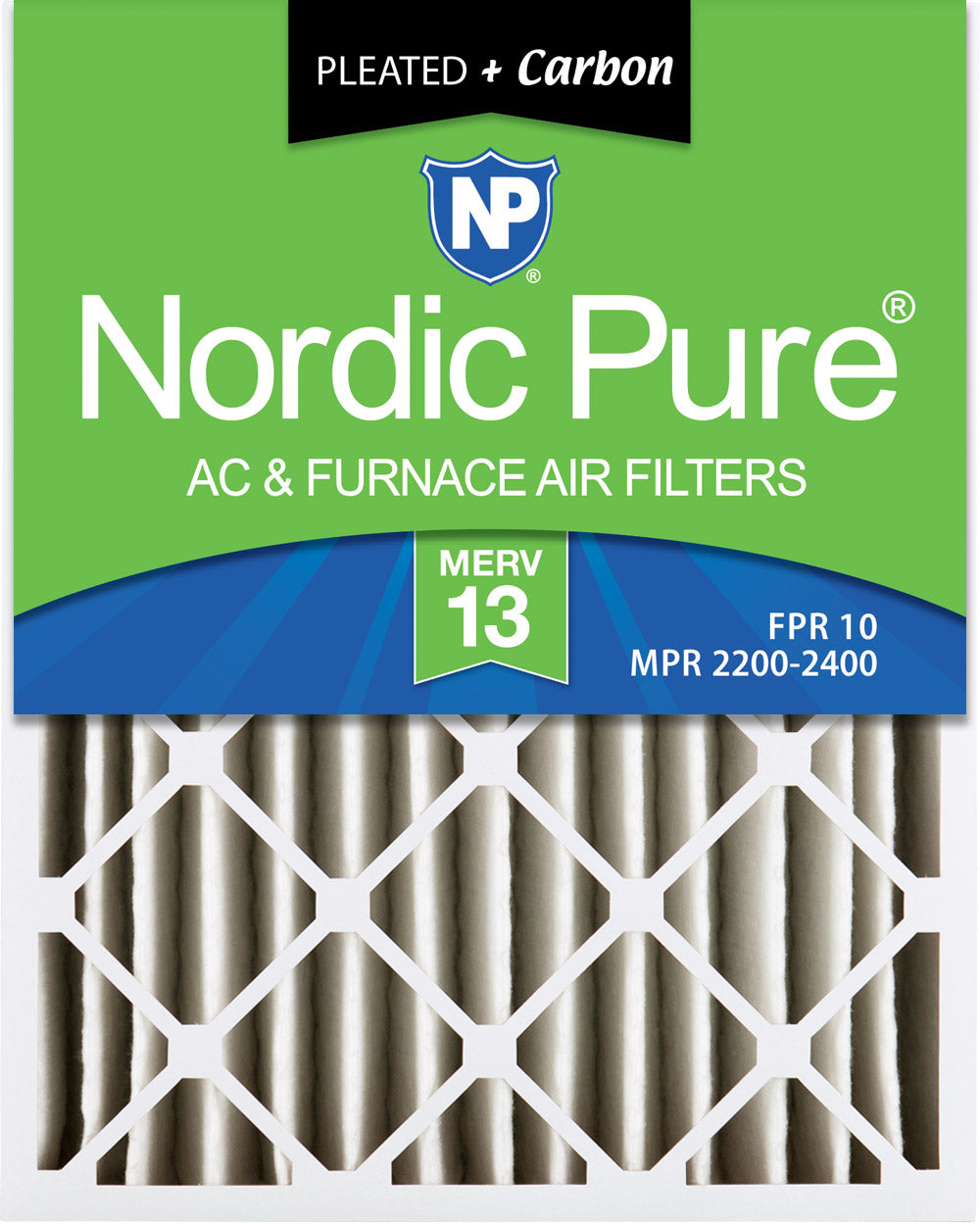 16x20x4 (3 5/8) Pleated Air Filters MERV 13 Plus Carbon 2 Pack