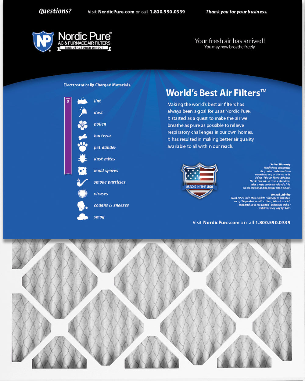 Nordic Pure 8x20x1 Exact MERV 11 Pleated AC Furnace Air Filters 4 Pack