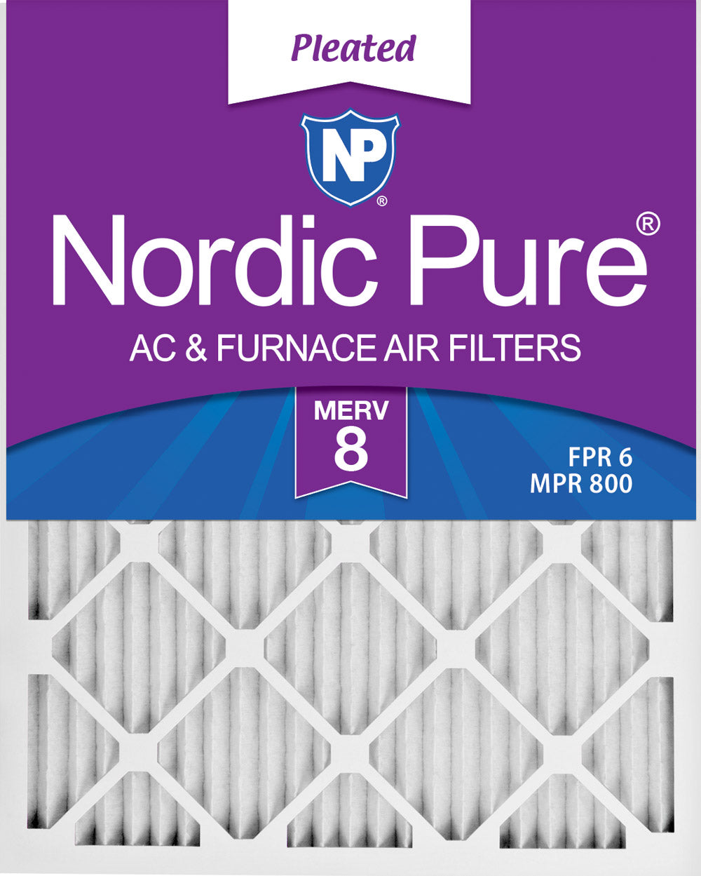 16x25x1 Pleated MERV 8 Air Filters 6 Pack