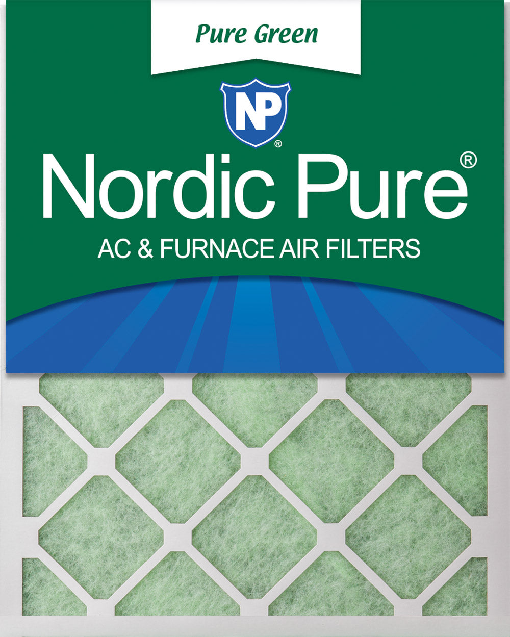 16x25x1 Pure Green Eco-Friendly AC Furnace Air Filters 12 Pack