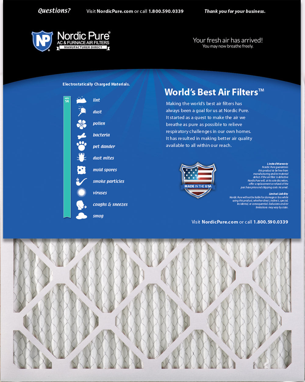 Nordic Pure 16x25x1 MERV 14 Pleated AC Furnace Air Filters 16x25x1M14-6 6 Pack