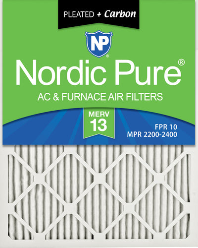 16x20x1 Pleated Air Filters MERV 13 Plus Carbon 12 Pack