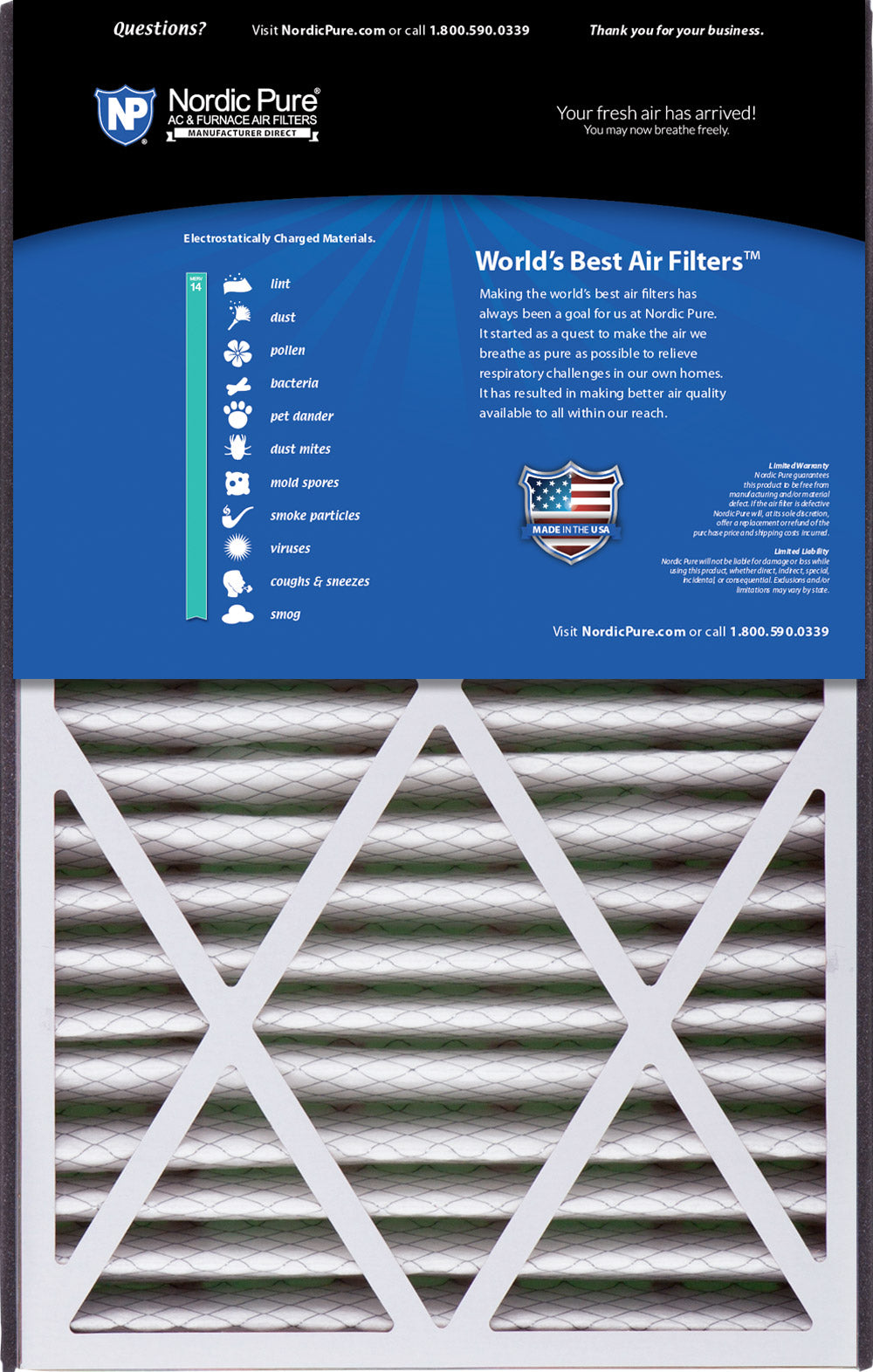 4-7//8 Actual Depth 2 Pack MERV 15 Plus Carbon Trion Bear 266649-105 Replacement Pleated AC Furnace Air Filter Nordic Pure 16x25x5