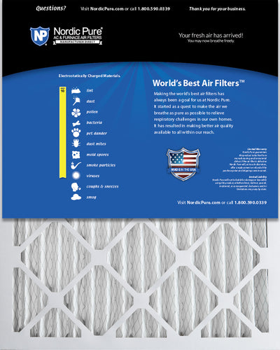 16x25x2 Pleated MERV 10 Air Filters 12 Pack