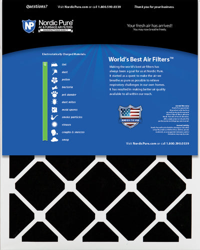20x25x1 Pleated Air Filters MERV 13 Plus Carbon 12 Pack