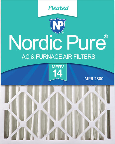 16x20x4 (3 5/8) Pleated MERV 14 Air Filters 2 Pack