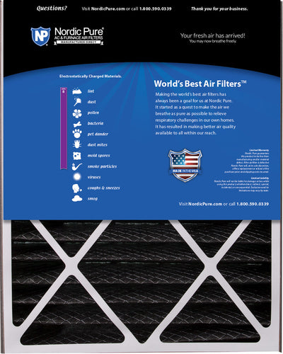 Air Bear 20x25x5 (4 7/8) Air Filter Replacement MERV 8 Pleated Plus Carbon 1 Pack